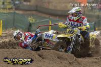 Film: Willemsen, Veldman en Bax op het podium in Duitse GP zijspancross