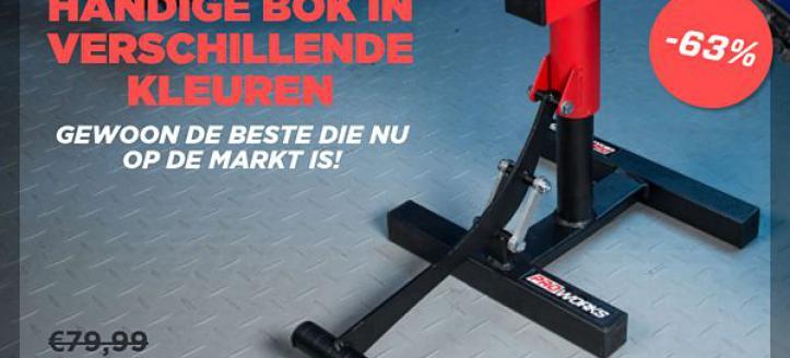Maar €29,99 bij 24MX voor een Heavy Duty bike standaard